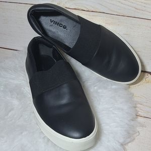 NWOT Vince. Black leather slip on sneakers shoes 5